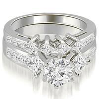 3.35 cttw. 14K White Gold Channel Set Princess and Round Cut Diamond Bridal Set
