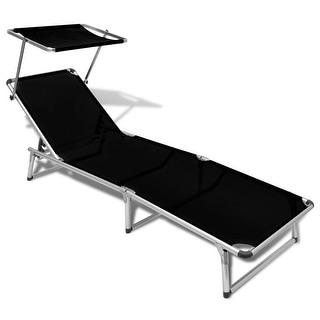 "vidaXL Folding Sun Lounger with Roof Aluminium and Textilene Black - 78"" x 24"" x 10.2"""