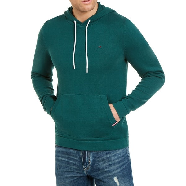 Tommy Hilfiger Mens Sweater Green Size XL Hooded Drawstring Pullover. Opens flyout.