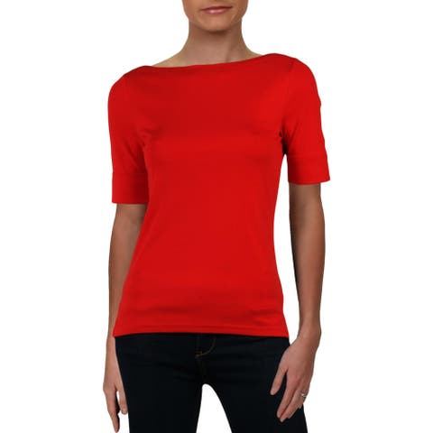 Lauren Ralph Lauren Womens Petites Pullover Top Knit Elbow Sleeves - Red - PM