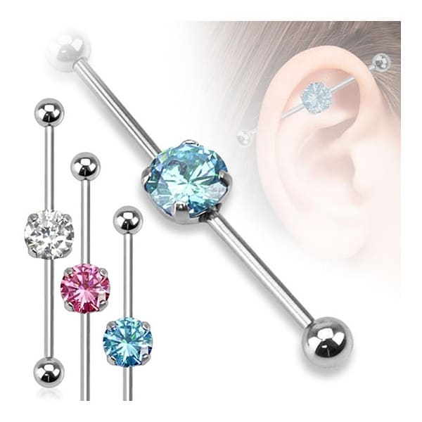 Round CZ 316L Surgical Steel Industrial Barbell (Sold Individually)