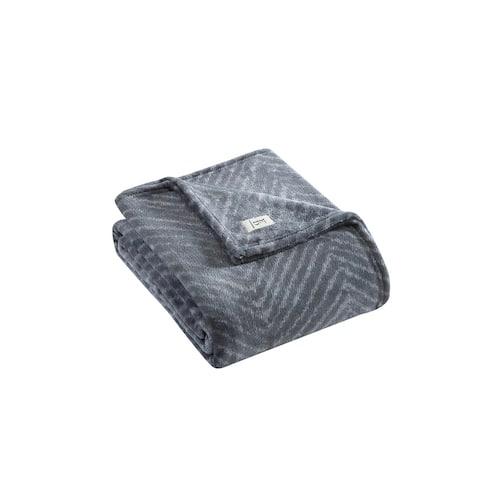ED Ellen DeGeneres Herringbone Green Micro Flannel Throw Blanket
