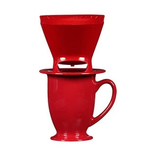 Melitta 64011 Pour Over One-Cup Ceramic - Red (Single-Pack) Ceramic Coffeemaker - Red