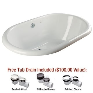 "Mirabelle MIRBRS6640V Boca Raton 66"" X 40"" Drop-In Soaking Tub with Center Hand"
