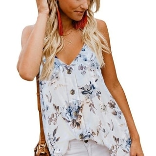 Women's Cami Tank Casual V Neck Button Down Strappy Cami Tank Tops Sleeveless Shirts Blouses
