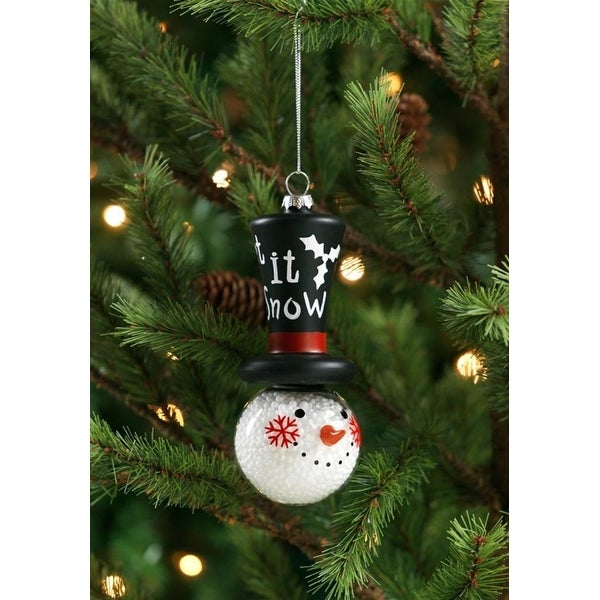 """Club Pack of 12 Filled Snowman with Top Hat Glass Ornament 5"""" - WHITE"""