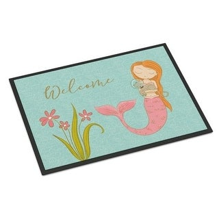 Carolines Treasures BB8548JMAT Mermaid With Cat Welcome Indoor Or Outdoor Mat - 24 x 36 in.