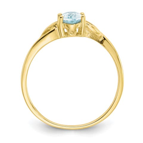 10K Yellow Gold Polished Genuine Aquamarine Birthstone Ring by Versil