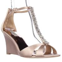 Badgley Mischka Romance Wedge Jeweled T-Strap Dress Sandals, Latte