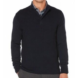 Perry Ellis NEW Blue Dark Sapphire Mens Size Large L 1/2 Zip Sweater