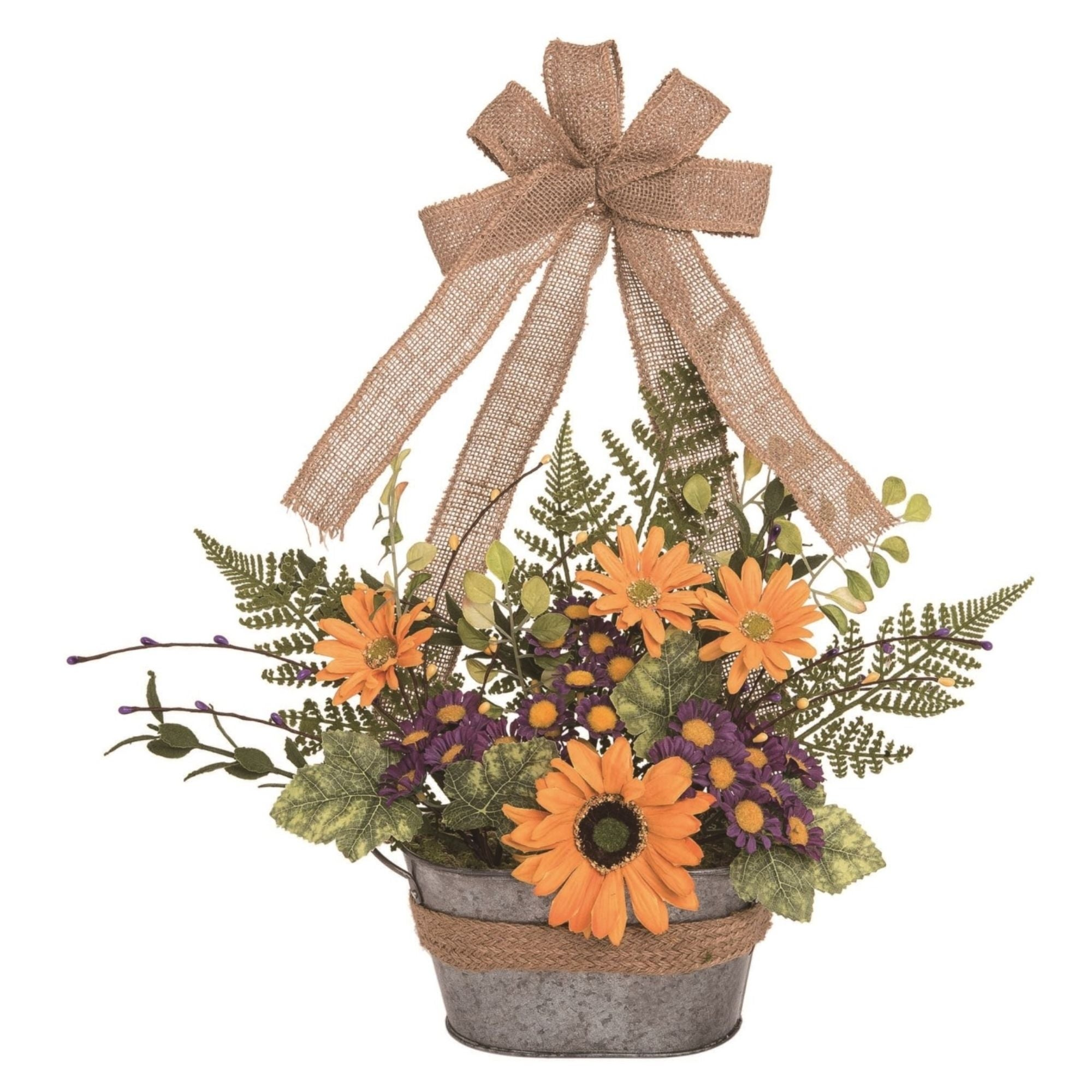 18 Yellow And Purple Spring Faux Wildflower Bouquet In Bucket Home Decor Accent Overstock 31713090