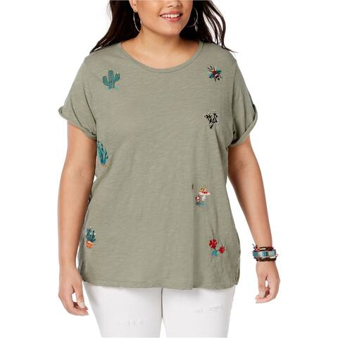 Lucky Brand Womens Cactus Embellished T-Shirt, green, 1X