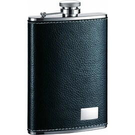Visol VF1281 Visol Max Black Leather Stainless Steel Flask - 8oz