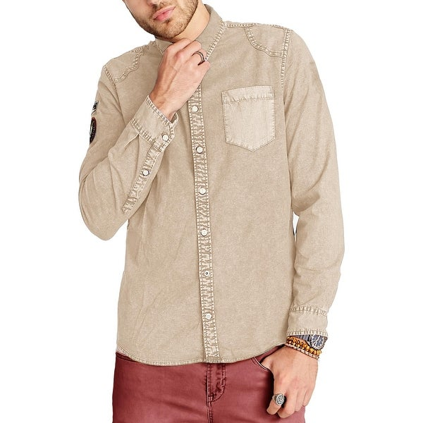 faab30c6b1 Shop Buffalo David Bitton Mens Button-Down Shirt Denim Patch - On Sale -  Free Shipping On Orders Over  45 - Overstock - 25604278