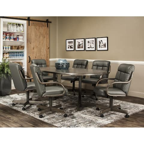 Caster Chair Company 7 Pc Dining Set - 42x54x72 Table / Charcoal Leatherette Chair