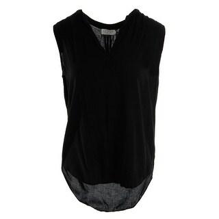 VELVET BY GRAHAM & SPENCER Womens Sleeveless Split Neck Blouse - XS