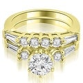 1.35 cttw. 14K Yellow Gold Baguette and Round Diamond Bridal Set - Thumbnail 0