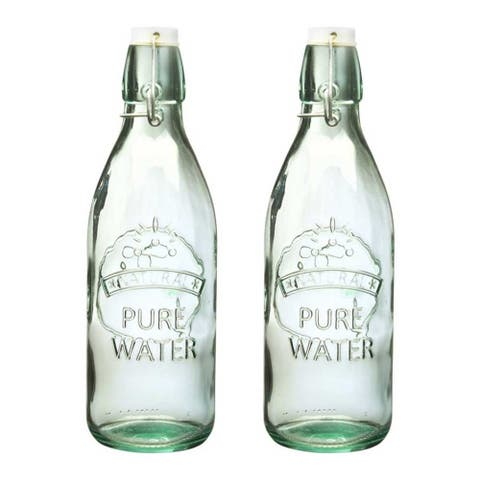 Amici Home Italian Recycled Green Water Tap Glass Bottle, Set of 2 - 34 oz