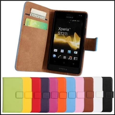 Genuine Wallet Stand Leather Cover Case For Sony Xperia Go St27i with Kickstand