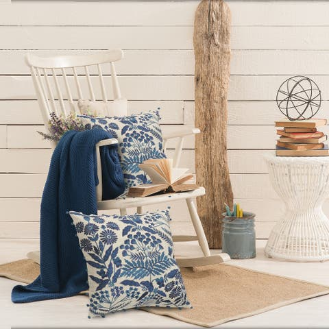 Off-White and Navy Bohemian Floral Throw Pillow