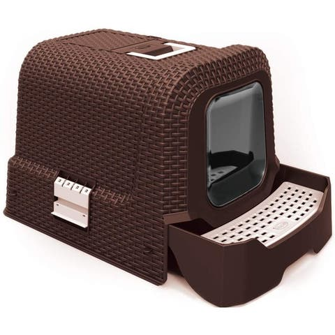 Penn-Plax Deluxe Covered Litter Box with Removable Tray, Scoop, and Bags