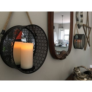 The Gray Barn Tall Oak Round Mirror Pillar Candle Sconce with Filigree Metal Frame and Hanging Rope