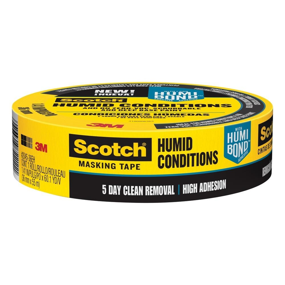 SCOTCH MASKING TAPE FOR CONCRETE BRICK AND GROUT 60 YARD ROLL HIGH ADHESIVE