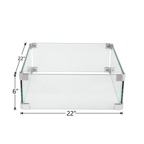 COSIEST Glass Wind Guard Tempered Glass for Outdoor Fire Pit
