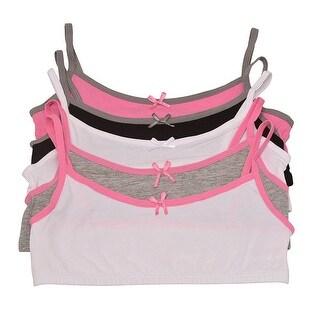 Sweet n Sassy Girls White Pink Gray Piping 5 Pc Cami Bra Pack