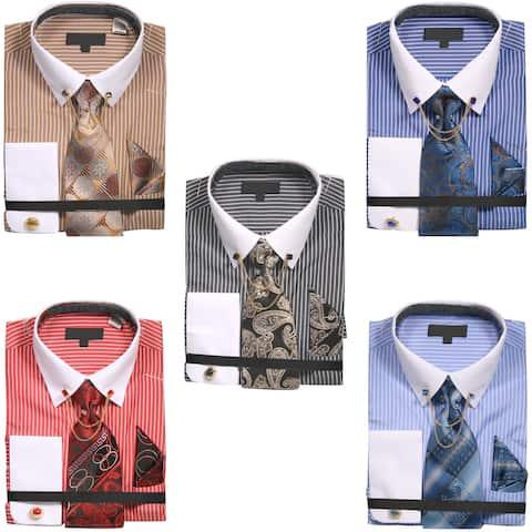 Men's Chalk Stripe Shirt with Tie Handkerchief Cufflinks and Collar Chain