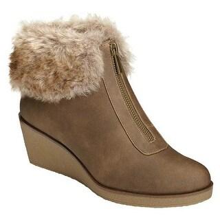 A2 by Aerosoles Women's Bintegrity Wedge Boot Brown Combo Faux Leather/Faux Fur