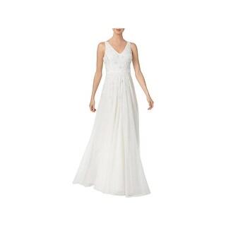 Adrianna Papell Womens Wedding Dress Cascade Beaded Sleeveless