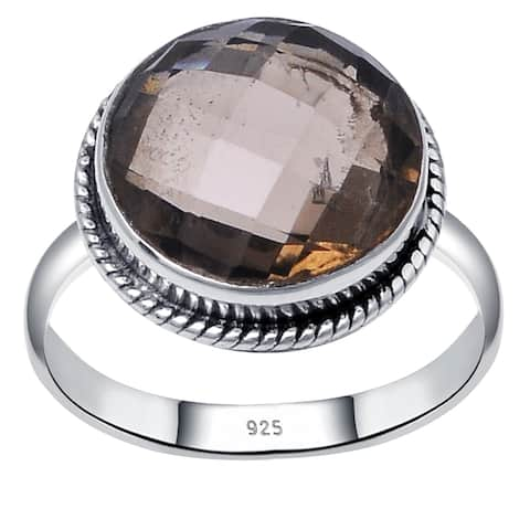 Smoky Quartz Sterling Silver Round Wedding Ring by Orchid Jewelry
