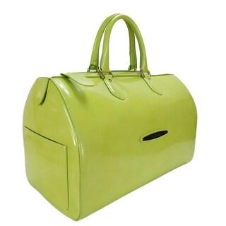 Pierre Cardin 4065 LIME Lime Green Leather Medium Speedy/Bowling Bag