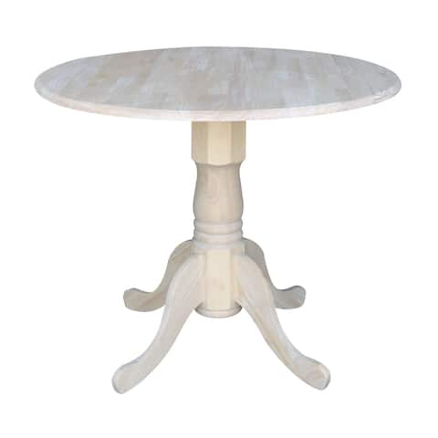 International Concepts Unfinished Round 36-inch Drop-leaf Dining Table