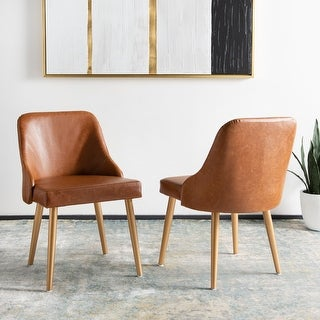 "Safavieh 18.3"" Lulu Upholstered Dining Chair - Light Brown / Gold (Set of 2)"