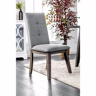 Mid-Century Modern Side Chair In Gray Fabric, Set Of 2