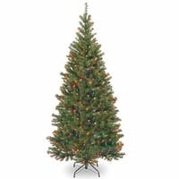 7' Pre-Lit Aspen Spruce Artificial Christmas Tree - Multi-Color Lights - green