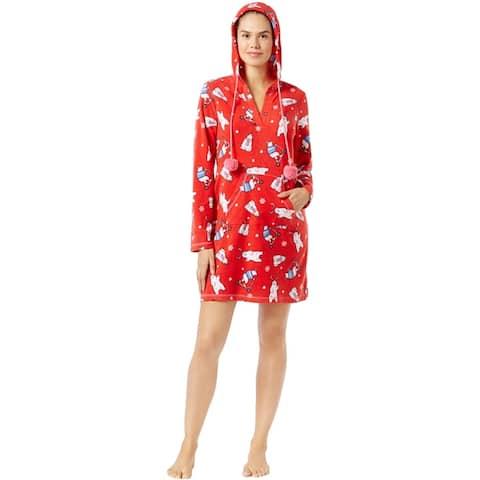 Jenni Womens Hooded Printed Pajama Sleep T-Shirt