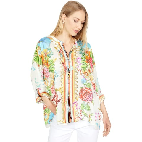 Johnny Was Womens Long Sleeves Sabrina Button Up Blouse Multi Color Floral Print