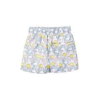 Azul Little Boys Khaki Lemon Fish Print Elastic Band Drawstring Swim Shorts
