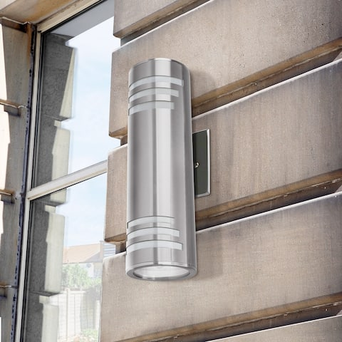 2 Bulbs Modern Outdoor Lighting Cylinder Lamp Outdoor Armed Sconces