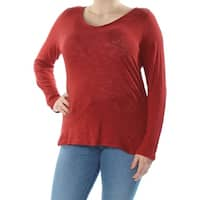 INC Womens Red Long Sleeve V Neck Top  Size: XL