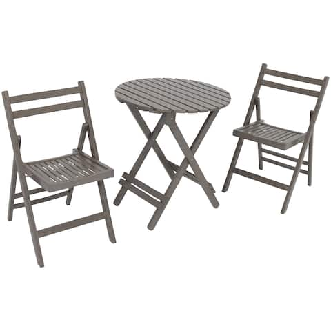 Sunnydaze 3 Piece Outdoor Folding Wood Patio Bistro Set Multiple Color Options