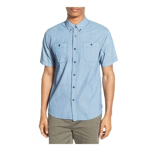 Ezekiel Mens Chambers SS Button Up Shirt, Blue, Small