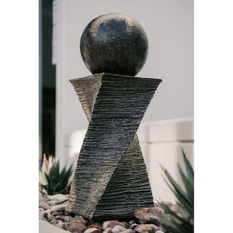 XBrand Swirl Sphere Water Fountain, Indoor Outdoor Décor, 30 Inch Tall, Black