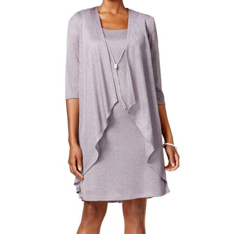 R&M Richards Women's Dress Silver Size 8 Sheath Jacket Set Necklace