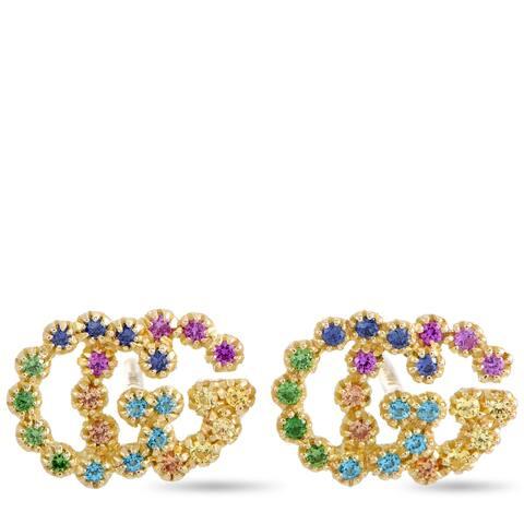 Gucci GG Running Yellow Gold Sapphire, Tsavorite and Paraiba Tourmaline Earrings