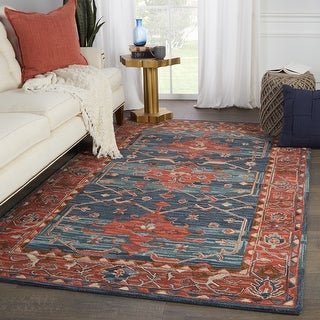 Link to Cinnabar Handmade Medallion Red/ Blue Area Rug Similar Items in Transitional Rugs
