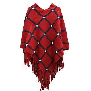 QZUnique Women's Tassel Fringe Pullover Cloak Plaid Poncho Cape Shawl